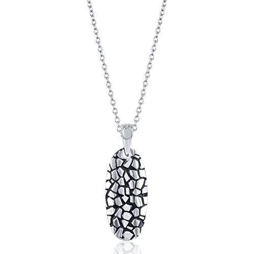 "Sterling Silver Pebble Design Oval Pendant with 18"" Chain"