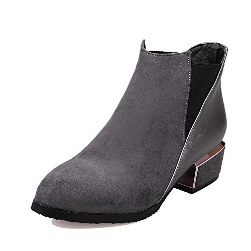 AgooLar Women's Pull-On Pointed Closed Toe Low-Heels Blend Materials Low-Top Boots Gray Kb4RLOSG