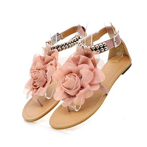 Leisuraly 2019 Women Bohemia T-Strap Thongs Flower Flat Summer Sandals Pink