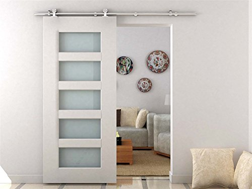 HomCom Modern 6.6' Interior Sliding Barn Door Kit Hardware Set - Stainless Steel Tube