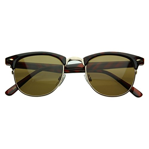 Vintage Half Frame Semi-Rimless Horn Rimmed Style Classic Optical RX Sunglasses (Tortoise-Gold/Brown) (Rx Sunglasses)