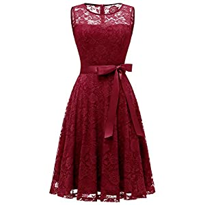 Dressystar Women's Floral Lace Dress Short Bridesmaid Dresses with Sheer Neckline