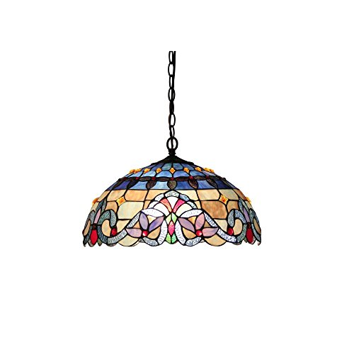 Chloe Lighting CH33381VB18-DH2 Tiffany Style Victorian 2-Light Ceiling Pendant Fixture 18-Inch Shade, Multicolored (Glass Table Light Fixture Stained)