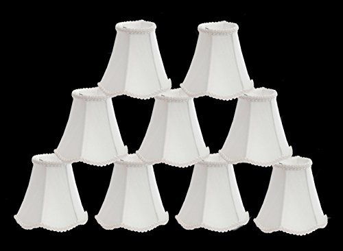 Scalloped Silk - Urbanest 3-inch by 6-inch by 5-inch Chandelier Lamp Shade, Scalloped Soft Bell, Off White Silk, Set of 9