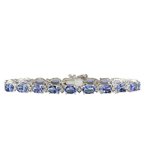 11.35 Carat Natural Blue Tanzanite and Diamond (F-G Color, VS1-VS2 Clarity) 14K White Gold Tennis Bracelet for Women Exclusively Handcrafted in USA ()