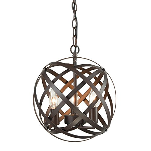 AXILAND Industrial Globe Chandelier Metal Pendant Light Fixture 3-Lights