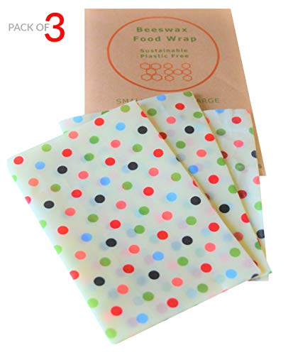 Home Essentials by Novelty Wares-Organic Beeswax Sandwich Wrap-Reusable Breathable Food Storage Wraps in Assorted 3 Pack (S,M,L) Eco Friendly Natural Ingredients-Anti Bacterial-Reduce Plastic (Dots)