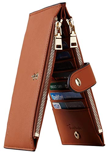 Thin Flat Credit Card Case - Travelambo Womens Walllet RFID Blocking Bifold Multi Card Case Wallet with Zipper Pocket (Chelsea Tan)
