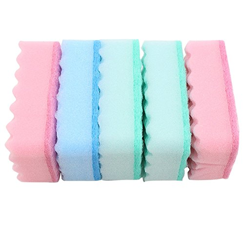 Da.Wa 5Pcs Extra Thick Multi-Colors Cleaning Scrunge Scrub Wave Sponge For Smooth Surfaces Dirty Furniture Kitchen Dish (Wave Scrub Sponge)