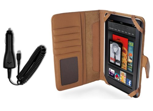 Navitech Genuine Brown Napa Leather Flip Open 7 Inch Book Style Carry Case/Cover & in Car Cigarette Charger Compatible with The Kindle Fire 7 Inch Amazon Tablet Android 3.2