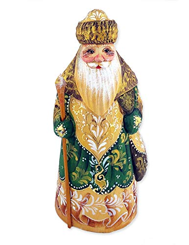 Needzo Russian Hand Painted Hand Carved Santa Claus Figurine Father Frost 6 1/2 -