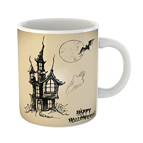 (Emvency Coffee Tea Mug Gift 11 Ounces Funny Ceramic Drawn Halloween Collection Line Doodle House Castle Gifts For Family Friends Coworkers Boss)