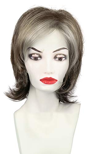 - HAIRSW Medium Auburn Silver White Mixed Colors Layered Full Wigs With Side Bangs Flip up in Back for Daily Use