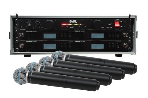 Shure BLX24R/B58 4 Pack Wireless Handheld Mic System with VRL Power Supply (4 Wireless Mic System Case)