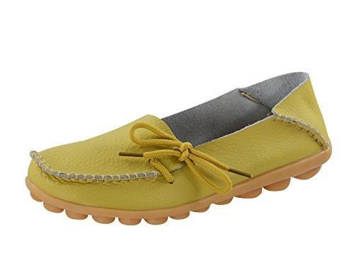 Secolo Stella Donna Casual In Pelle Morbida Comfort Lace-up Annodato Pantofole Mocassini Scarpe Da Barca Pantofole Mocassini Guida Piatte Verde Chiaro