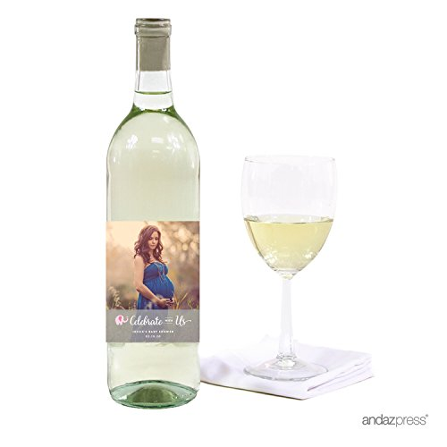 Andaz Press Photo Personalized Girl Elephant Baby Shower Collection, Wine Bottle Labels, 20-Pack, Custom Image