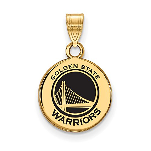 LogoArt NBA 14k Yellow Gold Plated Sterling Silver Golden State Warriors Small Disc Pendant by LogoArt
