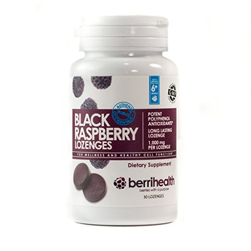 BerriHealths 100% Authentic Black Raspberry Lozenges - 1,000 mg Black Raspberry Per Lozenge with Organic Honey Crystals