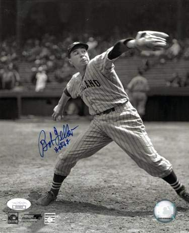 Bob Feller Autographed Photo - 8x10 Vintage Sepia HOF 62 Hologram Pitching) - JSA Certified - Autographed MLB Photos