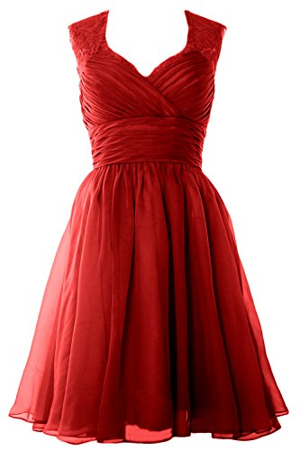 MACloth Women Short Bridesmaid Gown Vintage Chiffon Wedding Party Cocktail Dress Burgundy