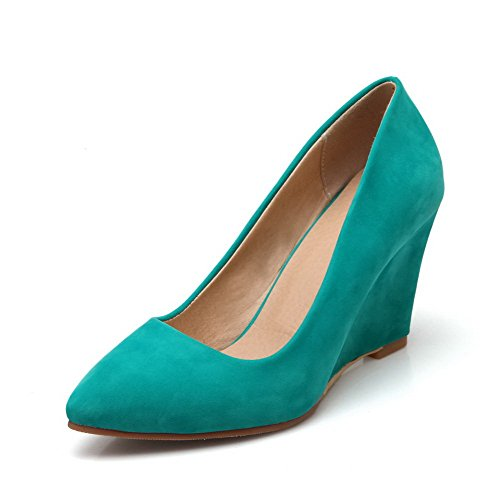 Verdi Rilevato Camoscio Donne Tacchi scarpe Chiusa Imitati Estraibili Punta On Solidi Pompe Weipoot Di gwqwHO