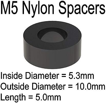Lot de 12 entretoises en nylon noir M5 x 15 mm.
