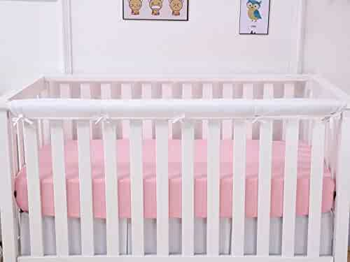 Fits Up to 8 Around or 4 Folded CaSaJa 3 Pieces Soft Reversible Microfiber Crib Rail Cover Set for 1 Front Rail and 2 Side Rails Safe Breathable Batting Inner for Baby Teething Guard Pink//White