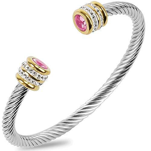 Winhime Birthstone Cable Bangle Bracelets for Women, Stainless Steel Twisted Cable Wire Bracelet for Teen Girls Designer Inspired Cuff Bracelet in Two Tone Silver Gold