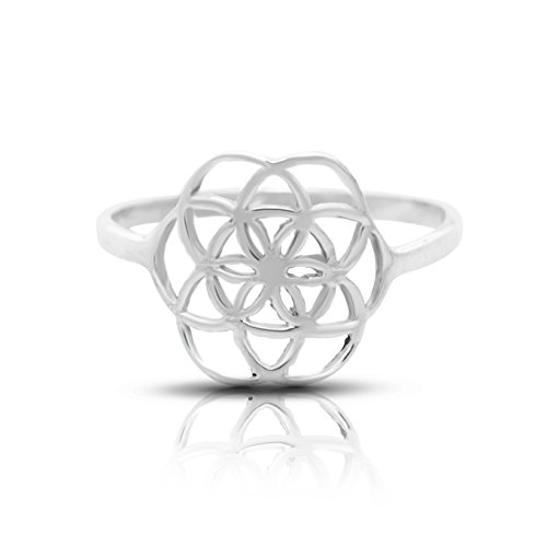 Seed of Life Ring Sterling Silver 925 Sizes Us 6 7 8 9 Sacred Geometry Flower of Life Yoga jewelry (9)