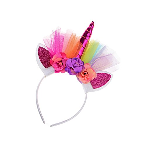 Floral Fall Rainbow Unicorn Horn Headband Girl Birthday Crown Headpiece DJ-03 (Fuchsia)