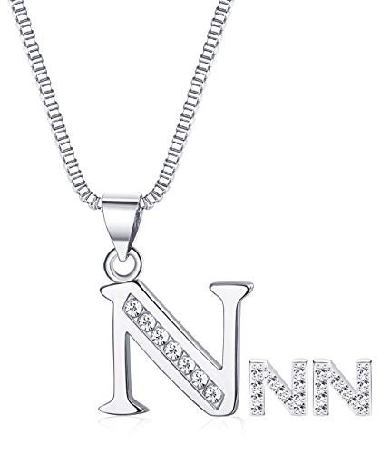 JOERICA Women Girls Jewelry Set Letter Necklace and Earrings N (Bow Jewelry Set)