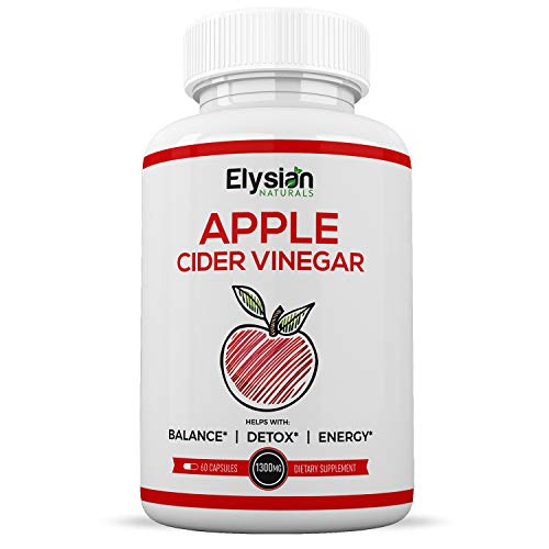 Premium Apple Cider Vinegar Capsules - All Natural Weight Loss Pills - Non-GMO - Circulation & Digestion Support + Detox - 1300mg Cleanser. 60 Pills