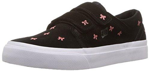 (DC Girls' Trase V SE Skate Shoe, Black/Pink, 13 M US Little Kid)