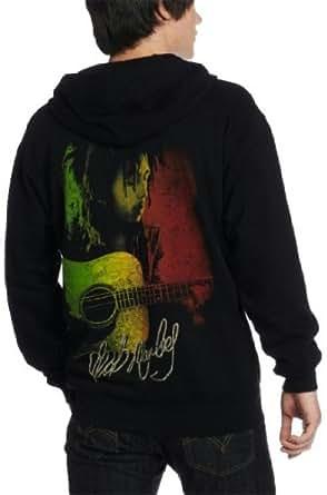 Bob Marley Lion Rasta Black Adult Zip Up Hoodie S