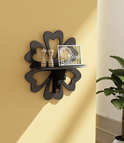 Home Sparkle Carved Floating Wall Shelf   MDF Carved Wall Shelves for Living Room Bedroom and Office Decor  Black
