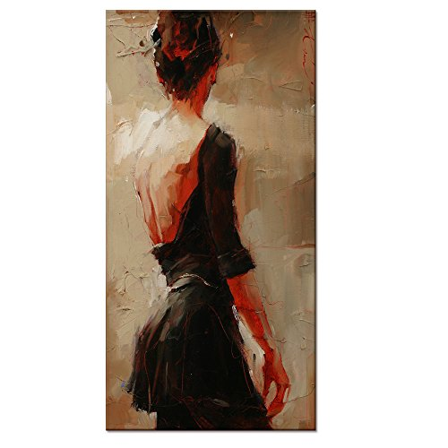 Oil Painting Feeling Canvas Prints,large Size Elegant Lady Dancer in Black Canvas Wall Art With Frame,Ready-hang-on Interior Home Room - In Women Mirror Nude