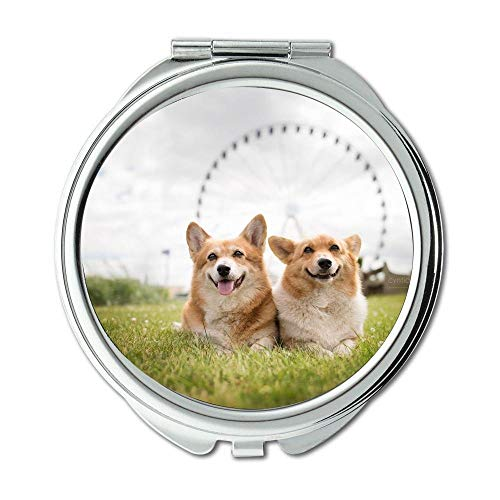 Mirror,Compact Mirror,Elephant and dog corgi,pocket mirror,1 X 2X -