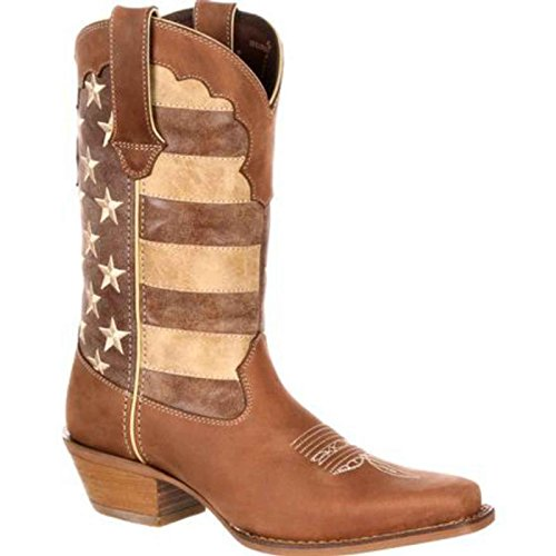 Durango Women's Crush 12'' Distressed Flag Casual Boots, Brown Leather, 10 M