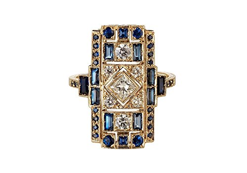 14k Estate Ring - VINTAGE ART DECO 1.54CT 14K SOLID YELLOW GOLD DIAMOND BLUE SAPPHIRE WEDDING RING,ALL US SIZE 5 TO 12 AVAILABLE