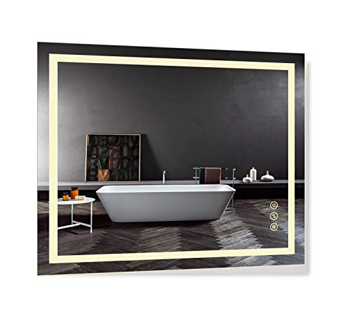 B&C 30x36 inch Super Slim Bathroom Mirror Vertical or Horizontal|LED Lighted|Polished Edge - Mirrors Bathroom Led