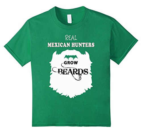Latin America Costume For Kids (Kids Mexican Hunter gift beards t shirts, hunting Mexico tees 8 Kelly Green)