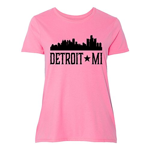 Michigan Womens Pink T-shirt - inktastic Detroit Michigan City Women's Plus Size T-Shirt 2 (18/20) Pink 2d689