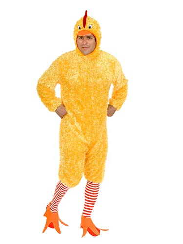 Charades Men's Adult Funky Chicken Costume Set, Yellow, -