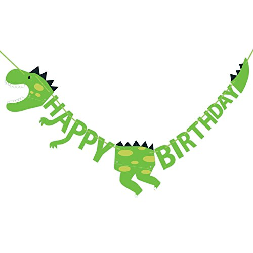 Dinosaur Happy Birthday Banner Party Supplies Decorations - Dino Jungle Jurassic Garland (Green)