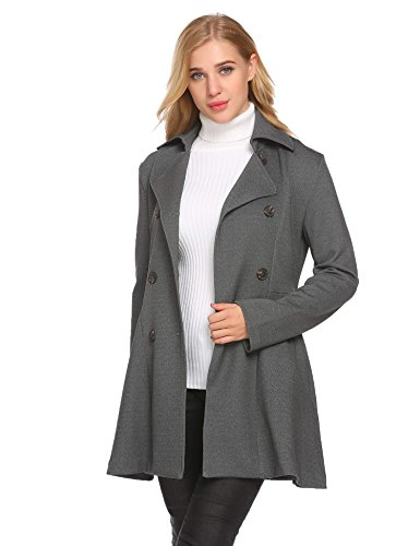 Womens PeaCoat Double Breasted Outwear Long Sleeve Jacket, Grey, X-Large