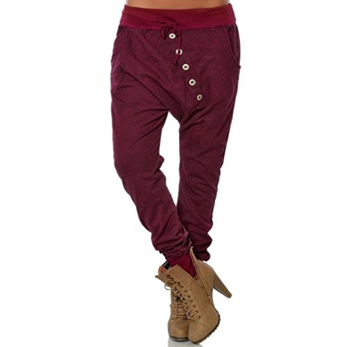 vermers Clearance Women Fashion Hipsters High Waist Harem Pants - Women Casual Button Bloomers Baggy Pants Trousers(M, Wine) -
