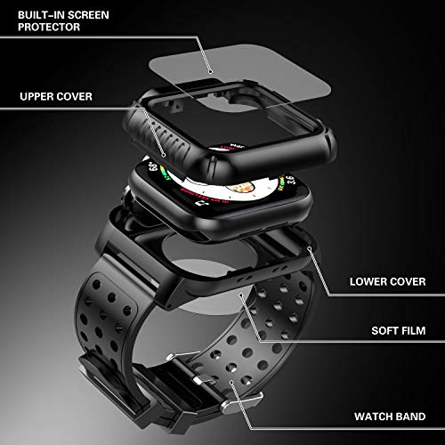Apple Watch 4 Case 44mm with Band(2018), Oterkin Rugged Watch 4 Case with Strap Band Built-in Screen Protector Full Body Protective Case for Apple Watch Series 4(44mm) Shockproof/Anti-Scratch and More by Oterkin (Image #4)