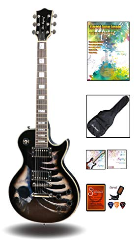 Leo Jaymz 24.75″ Single Cut Curved Top Electric Guitar – with Cool Skull Graphic Design on Top – Grover Machine Heads Installed – Super Light String in 0.9 and Extra Set as Spare Parts 412SPMCc 2BrL