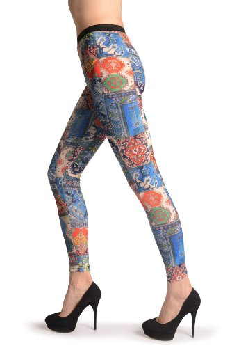 Blue, Green & Terracotta Aztec Panels - Multicolore Leggings Taille Unique (34-40)