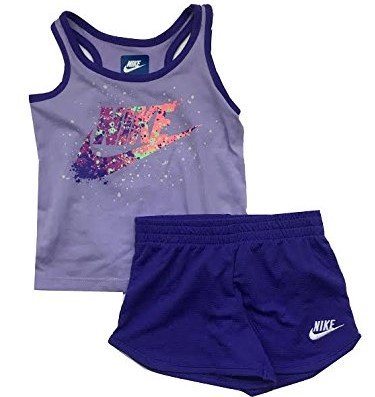 Nike Infant Girls Two Piece Tank Top And Shorts Set Dark